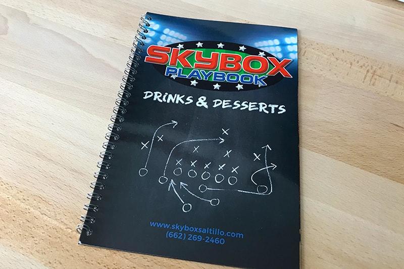 Skybox drink menu