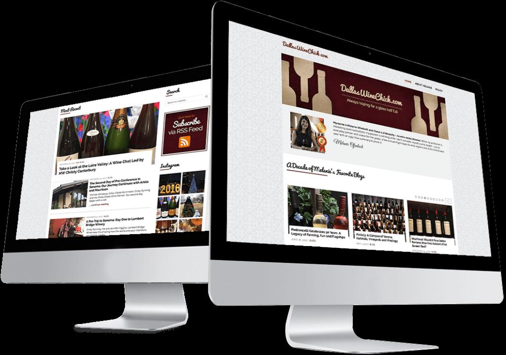 Dallas Wine Chick website design mockup